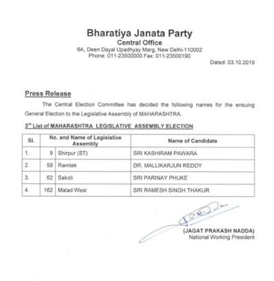 bjp candidate 3rd list